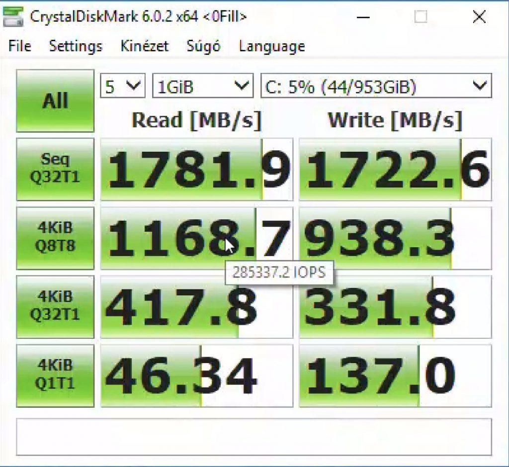 CrystalDiskMark program eredmény ablaka, 1781 / 1722 MB/s olvasás / írás eredmény.